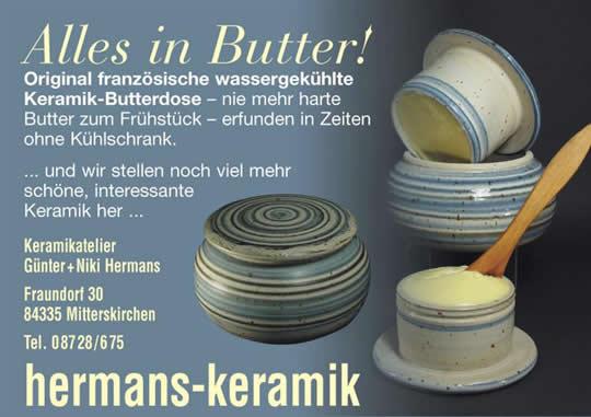 Original frankzösische wassergekühlte Keramik Butterdose